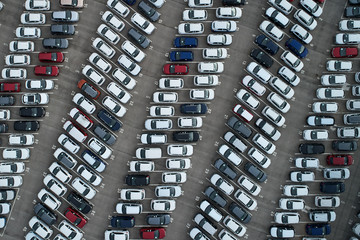 Crowded city parking from air
