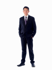 smiling asia businessman  standing  on white background isolated