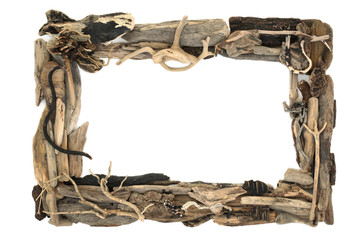 Fototapeta Rustic driftwood frame forming a background border on white with copy space. obraz