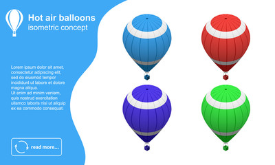 Set of modern colorful hot air balloons isometric vector illustration.