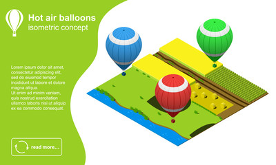 Set of modern colorful hot air balloons flying over the field isometric vector illustration.