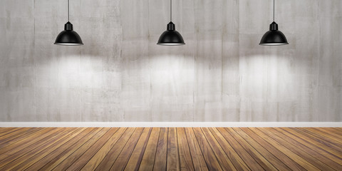 Room with three lamps, concrete wall and wooden floor 3D Illustration
