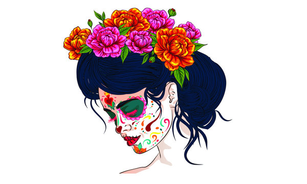 dia de los muertos day of the dead mexican holiday festival vector poster banner and card with, anta muerte woman make up sugar skull girl face with flowers wreath hand drawn