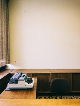 Typewriter on Desk in Retro-Styled Office