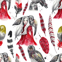 Seamless watercolor pattern with forest nymph, owl and feathers on white isolated background