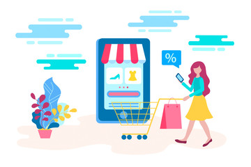 Concept young girl buys goods at a discount in the online store using a mobile application.