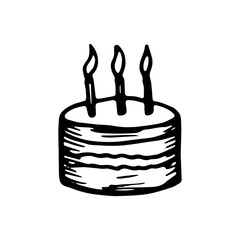 cake festive icon. sketch isolated object
