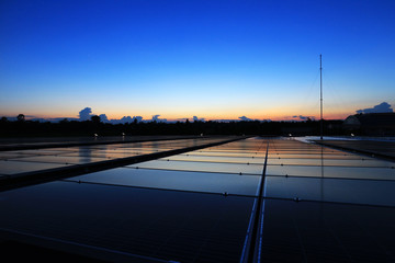 Solar PV Rooftop Beautiful Clear and Dawn Sky