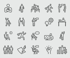 Line icons set for Businessman
