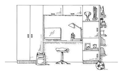 Sketch of a children's room. Teenager's room. Vector illustration
