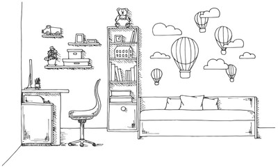 Sketch of a children's room. Teenager's room. Vector illustration