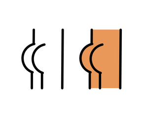 icon male ass. vector illustration