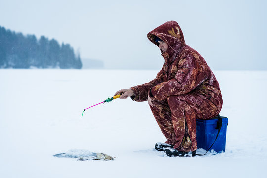 Winter Ice Fishing on the River