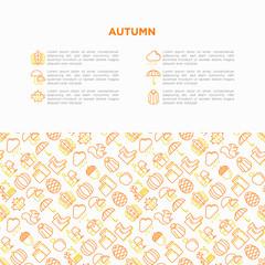 Autumn concept with thin line icons: maple, mushrooms, oak leaves, apple, pumpkin, umbrella, rain, candles, acorn, rubber boots, raincoat, pinecone. Vector illustration, print media template.
