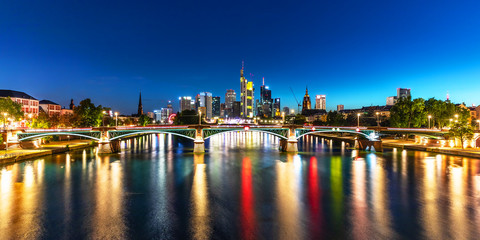 Wall Mural - Night panorama of Frankfurt am Main, Germany