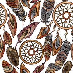 Embroidery dream catcher boho seamless pattern. Ethnic style. Native american indian talisman. Fashionable template clothes. Magic tribal feathers pattern, t-shirt design