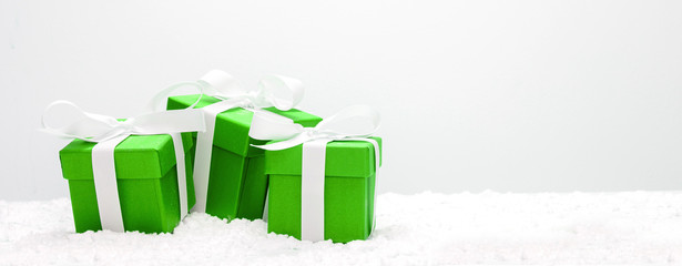 Fotomurales - Green christmas holidays decoration on a white background