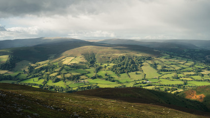 Landscape view from Sugarloaf hill towards Black Mountains near Abergavenny, Wales