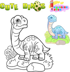 cute cartoon dinosaur apatosaurus, funny illustration, coloring book