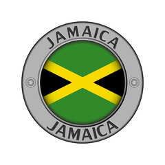 Medallion with the name of Jamaica and a round flag