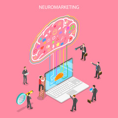 neurosciences neuromarketing Isometric flat vector concept of neuromarketing, digital compaign, commercial marketing strategy, ai, artificial intelligence.