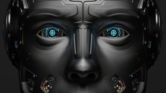 3D Render very detailed Futuristic Robot face