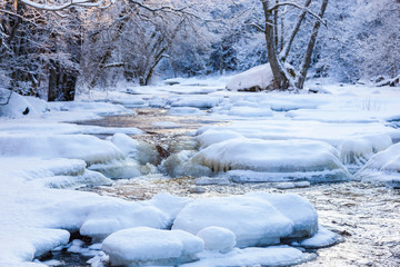 Winter landscape by a river