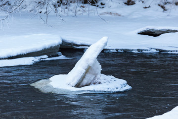 Ice floes in the river