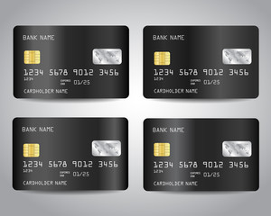 Black credit cards set with abstract black chrome metallic gradient design background