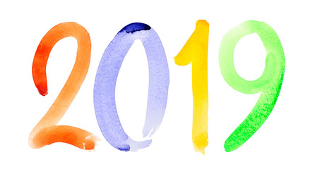 New year 2019 -  watercolor lettering