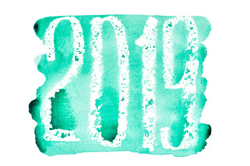 New year 2019 -  Green watercolor