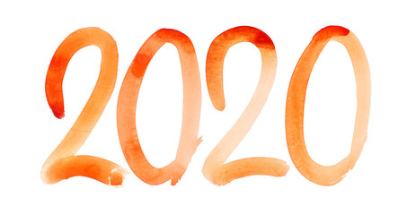 New year 2020 - Hand drawn orange watercolor number