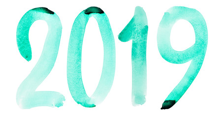 New year 2019 - Hand drawn green watercolor number