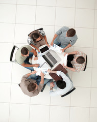 top view.business team making a financial report