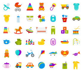 Baby toys. Vector. Set kids toy. Baby shower stuff in flat design isolated on white background. Colorful cartoon illustration with drum, bottle, teddy bear, car, horse, bib, pacifier, duck, bodysuit.
