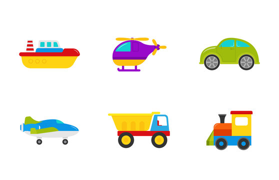 Baby toys. Vector. Set kids transport toy with car, boat, truck, plane, train, and helicopter. Cute baby shower elements in flat design isolated on white background. Colorful cartoon illustration.