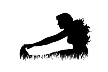 Vector silhouette of woman who sports on the grass on white background.