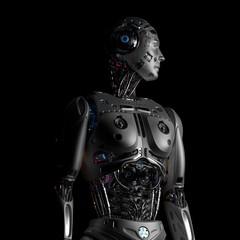 3D Render Futuristic Robot Man upper body on black background