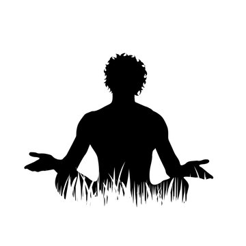Vector silhouette of man who meditates on the grass on white background.