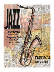 Papiers peints Art Studio Jazz in New York, poster