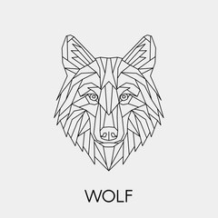 Geometric wolf. Polygonal linear animal head. Vector illustration.