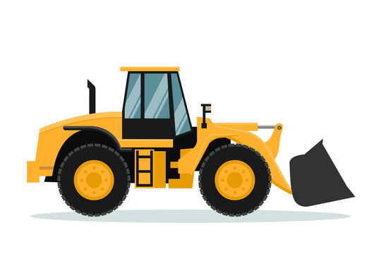 Vector design of front loader. Heavy machinery.