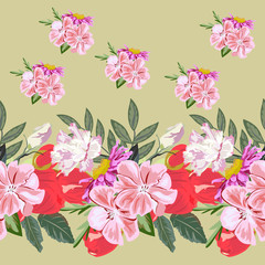 Seamless background with beautiful pink and red flowers. Design for cloth, wallpaper, gift wrapping. Print for silk, calico and home textiles.Vintage natural pattern