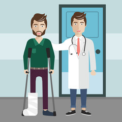 Patient care concept. Doctor and healed patient standing in front of hospital. Flat vector illustration