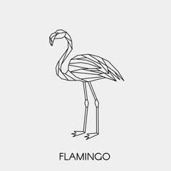 Geometric flamingo. Polygonal linear abstract tropical bird. Vector illustration