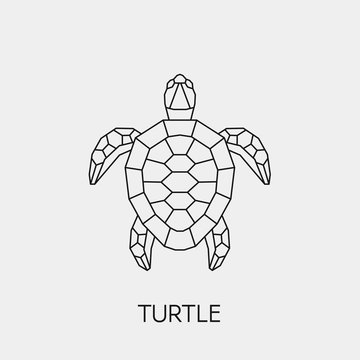 Geometric turtle. Polygonal linear abstract animal. Vector illustration
