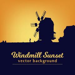 Windmill silhouette on sunset vector illustration. Background for bakery logo design.