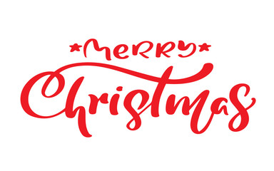Merry Christmas red vintage calligraphy lettering vector text.