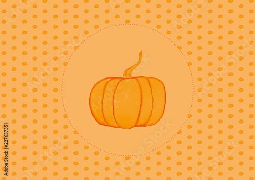 Halloween Small Pumpkin Pattern With Orange Hand Painted Pumpkin In