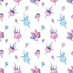 Pattern with watercolor winter berries. Frozen autumn.